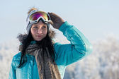 Winter young woman with ski goggles snow — Stok fotoğraf