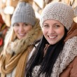 Young friends in winter clothes countryside — Stock Photo