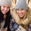 Two smiling friends in winter jackets countryside — Foto Stock