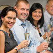 Business people flying airplane drink champagne — Stock Photo #35471679