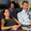 airplane passenger relax during flight cabin sleep — Stock Photo