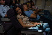Flight passengers sleep plane cabin night travel — Stock Photo