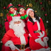 Santa Clause woman smiling elf helper — Stock Photo