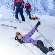 Ski patrol rescue injured skier after accident — Stock Photo #38837253