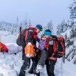 Stock Photo: Ski patrol carry injured womskier stretcher