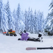 Injured skier after accident waiting for rescue — Stock Photo