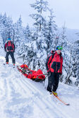 Ski patrol transporting injured skier snow forest — Stock Photo