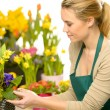 Stock Photo: Florist arrange spring flowers colorful