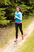 Woman jogging outdoor running countryside path — Foto de Stock