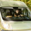 Stock Photo: Postal delivery courier mdrive cargo van
