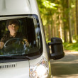 Stock Photo: Delivery courier in von way