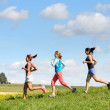 Female friends running downhill sunny meadow — Foto Stock
