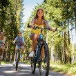 Group of friends on bicycles in countryside — Stock Photo