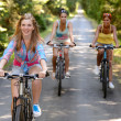 Three female friends riding bikes in park — Stock Photo