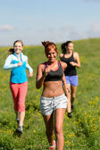 Three girls jogging downhill summer meadow — Stock Photo