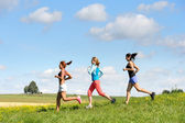 Female friends running downhill sunny meadow — Stock Photo