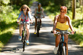 Friends riding their bikes in countryside — Stock Photo