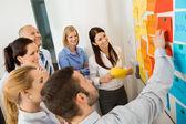 Businessman Explaining Labels On Whiteboard — Stock Photo