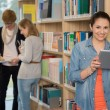 Student holding tablet in library — Stock Photo #44731689
