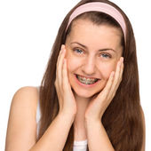 Happy girl with braces — Stock Photo