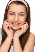 Smiling girl with braces — Stock Photo