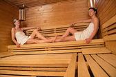 Women relaxing in sauna — Foto de Stock