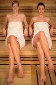 Two women relaxing in sauna — Stock Photo
