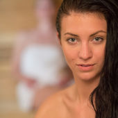 Young woman at sauna — Stock Photo