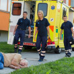 Paramedics arriving to unconscious man — Stock Photo #46252671