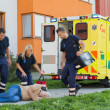 Paramedical team arriving to unconscious man — Stock Photo #46252675