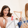 Fashion shopping - Two happy woman choose sale clothes — Stock Photo #4691296