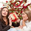 Two smiling women with Christmas present — Stock Photo #4695858