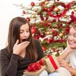 Two women unpacking Christmas present — Stock Photo #4695865