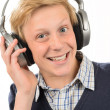 Teenage boy listening to music — Stock Photo