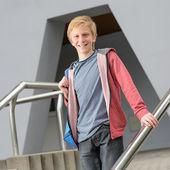 Teenage student standing outside school — Foto Stock