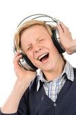Teenage boy enjoy music from headphones — Foto Stock