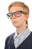 Serious teenage nerd boy — Stock Photo