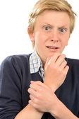 Scared teenage boy — Stock Photo