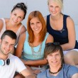 Student friends group smiling — Stock Photo #48611175