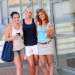 Three student girl friends — Stock Photo #48611263