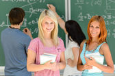 Student girls in math class — Stock Photo