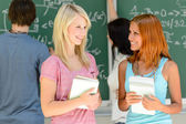 Student friends at math lesson — Stock Photo