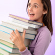 Student girl carry books — Stock Photo #49204721