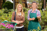Customer and worker in garden center — Stock Photo