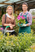Customer and employee in garden center — Stock Photo