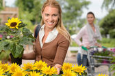 Woman hold potted sunflower — Stock Photo