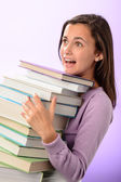 Student girl carry books — Stock Photo