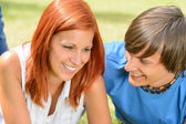First love teenage couple enjoy sunny day — Stock Photo