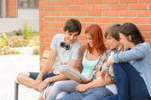 Student friends studying together outside campus — Photo