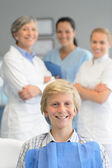 Teenage patient professional dentist team checkup — Stock Photo